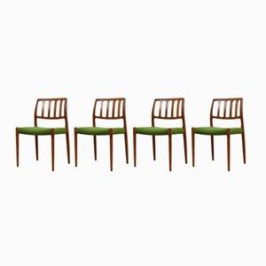 Sedie da pranzo nr. 83 in teak di Niels Otto Møller per J.L. Møllers, Danimarca, anni '60, set di 4