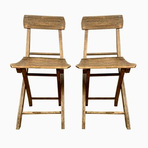 Mid-Century Village Hall Folding Chairs, Set of 2
