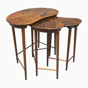 Danish Brass and Rosewood Side Table by Edmund Jorgensen for Edmund Jorgensen, 1950s, Set of 3