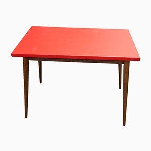 Table Rectangulaire Vintage en Hêtre & Simili Cuir de Baumann, France, 1960s