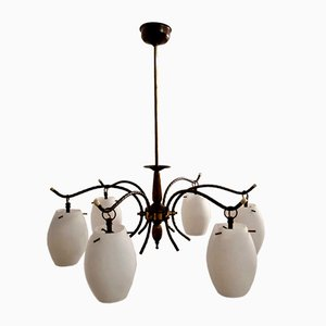 Italian Bronze and Opaline Glass Chandelier, 1950s