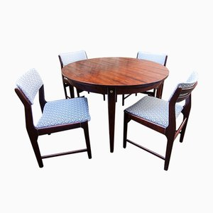 Scandinavian Modern Rosewood Rio Dining Table & Chairs Set, 1950s