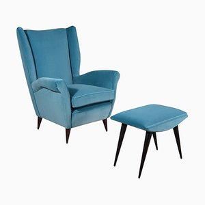 Italian Velvet Lounge Chair and Foot Stool by Gio Ponti, 1940s