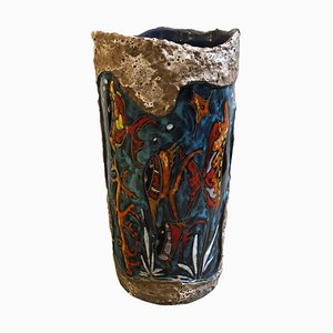 Paragüero italiano Mid-Century moderno de cerámica hecho a mano, años 60