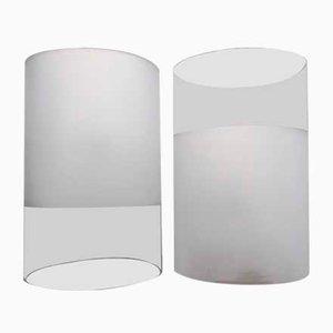 Lámparas de mesa de vidrio rosa de Guido Rosati para Fontana Arte, años 70. Juego de 2