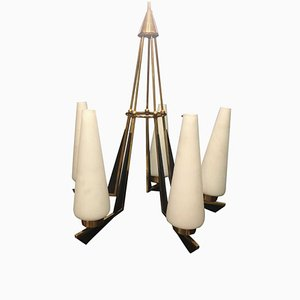 Mid-Century Italian Modern Brass Ceiling Lamp for Stilnovo, 1950s