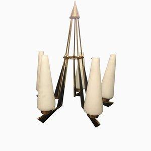 Moderne italienische Mid-Century Deckenlampe aus Messing von Stilnovo, 1950er