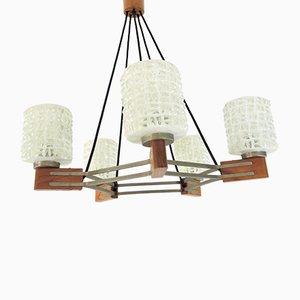 Deckenlampe aus Teak, 1960er