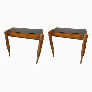 Mid-Century Modern Wood & Black Glass Consoles by Pier Luigi Colli, Set of 2