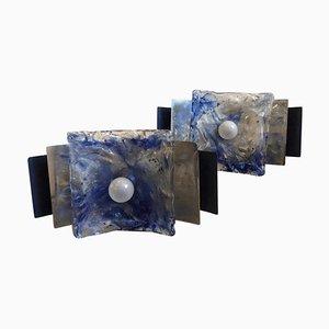 Apliques de pared italianos en blanco y azul de cristal de Murano de Mazzega, años 70. Juego de 2