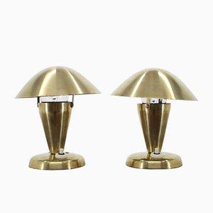 Lámparas de mesa Bauhaus de latón y metal cromado. Juego de 2