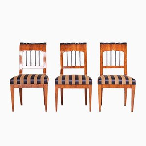 Antique Biedermeier Walnut Dining Chairs, Set of 3