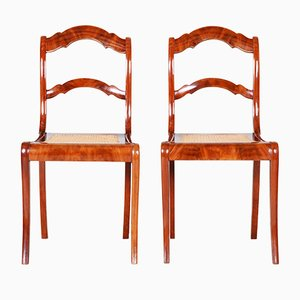Antique Biedermeier Mahogany & Wicker Dining Chairs, Set of 2