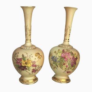 Antike Porzellanvasen von Royal Worcester, 1906, 2er Set
