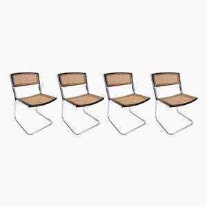 Vintage Esszimmerstühle aus Metall & Holz, 1970er, 4er Set