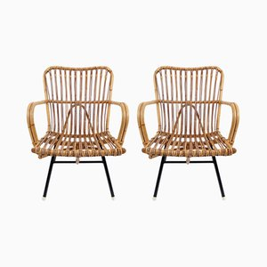 Mid-Century Iron and Rattan Armchairs, 1960s, Set of 2