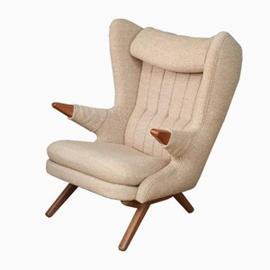 Vintage Teak and Wool Armchair by Svend Skipper, 1960s