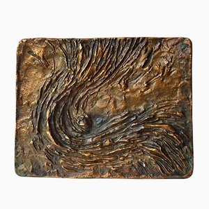 Vintage Bronze Art Door Handle with Wave Relief