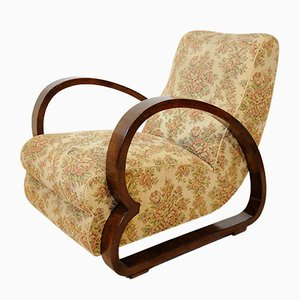 Mid-Century Italian Walnut and Fabric Lounge Chair, 1950s