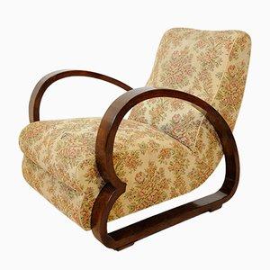 Mid-Century Italian Walnut and Fabric Lounge Chair, 1950s