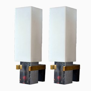 Italian Brass, Chrome Plating, and Opaline Glass Sconces, 1960s, Set of 2
