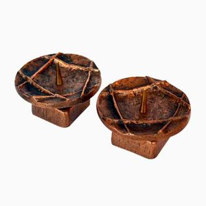 Bronze Brutalist Candleholders, 1970s, Set of 2