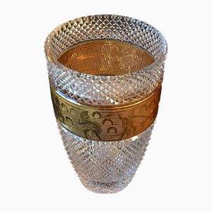 Vase en Verre Taillé avec Frise Cameo Dorée de Moser Glassworks, 1930s