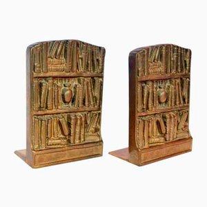 Mid-Century Buchstützen aus Bronze, 2er Set