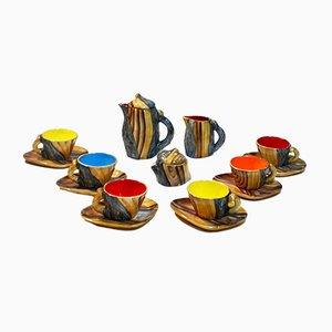 Juego de té vintage de cerámica Vallauris imitando madera de Grandjean-Jourdan