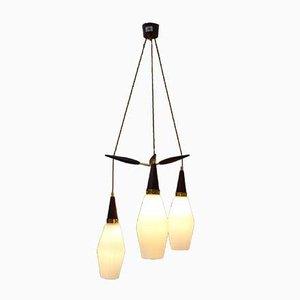 Moderne dreistufige dänische Deckenlampe aus Messing & Opalglas, 1950er