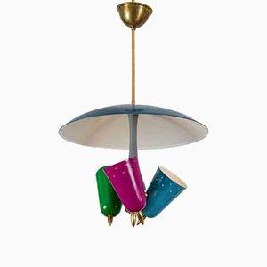 Italienische Mid-Century Deckenlampe aus Messing & Metall, 1950er