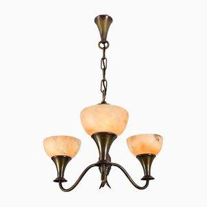 Lampada da soffitto Art Deco in ottone ed alabastro, anni '30
