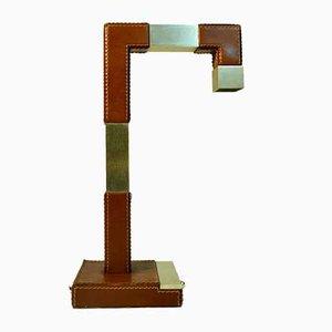Lampada da tavolo in ottone e pelle di Tanneur, Francia, anni '50