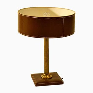 Französische Mid-Century Tischlampe aus Messing & Leder, 1950er