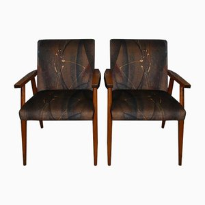 Mid-Century Wooden Armchairs, 1960s, Set of 2