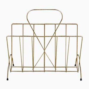 Mid-Century Brass and Metal Magazine Rack, 1950s