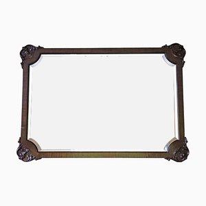 Espejo de pared o de repisa antiguo de caoba, años 10
