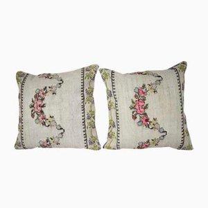 Housse de Coussin Tissée à la Main Kilim avec Motifs Floral de Vintage Pillow Store Contemporary