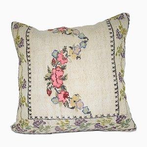 Türkischer Kelim Kissenbezug mit floralem Muster von Vintage Pillow Store Contemporary