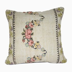 Funda de cojín floral hecha con kilim turco de Vintage Pillow Store Contemporary