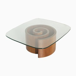 Glass and Walnut Coffee Table by Vladimir Kagan for Selig, 1950s