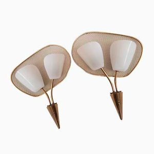 Mid-Century Brass and Perspex Sconces, 1950s, Set of 2