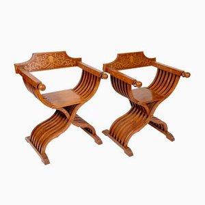 Vintage Sessel mit Gestell aus Kirschholz, 1930er, 2er Set
