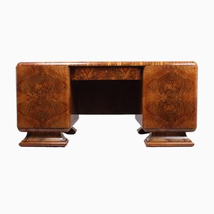 Vintage Art Deco French Walnut Desk, 1930s