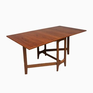 Vintage Teak Extending Drop Leaf Dining Table by Bendt Winge, 1970s
