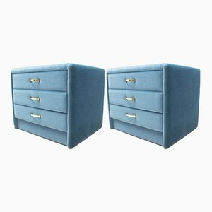 Blue Velvet Nightstands, 1960s, Set of 2