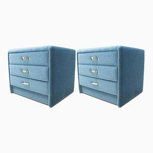 Nachttische mit blauer Samtverkleidung, 1960er, 2er Set