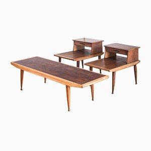 Banc et Tables de Chevet en Teck, 1960s