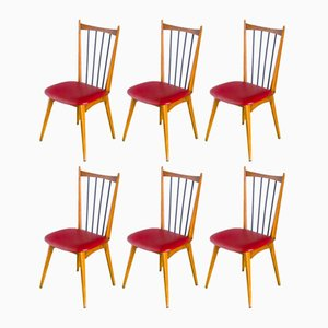 French Beechwood Dining Chairs, 1960s, Set of 6
