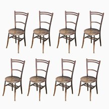 Spanish Beechwood Bistro Chairs, 1940s, Set of 4